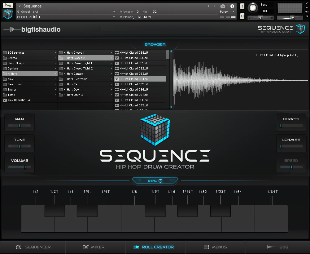 Sequence: Hip Hop Beat Creator Big Fish Audio GUI 3