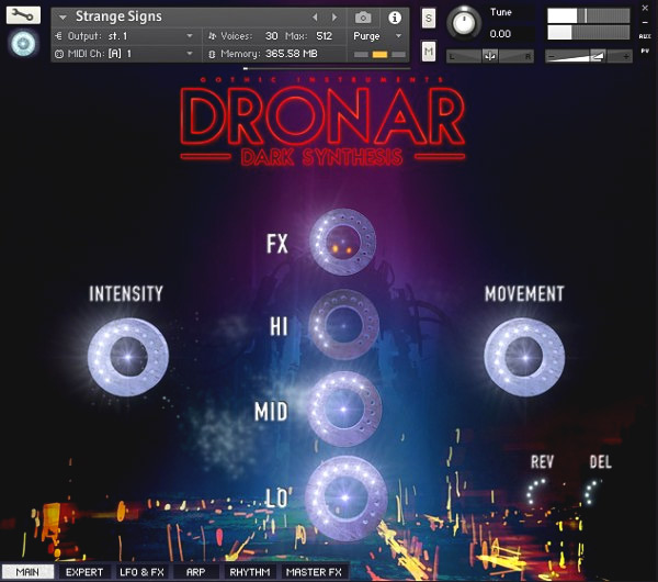 Dronar Dark Synthesis GUI